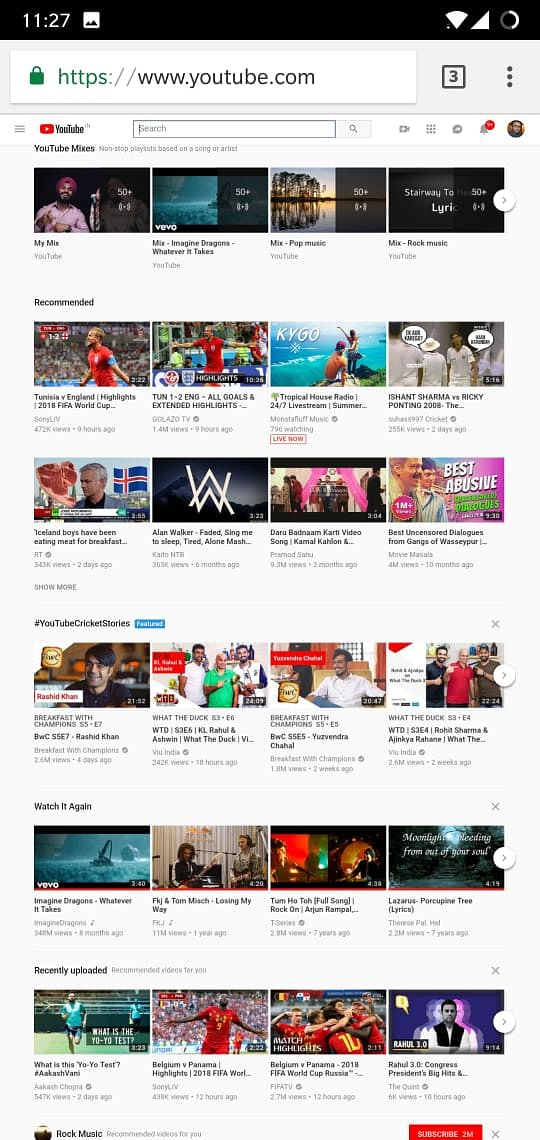 YouTube desktop site view on Android phone.