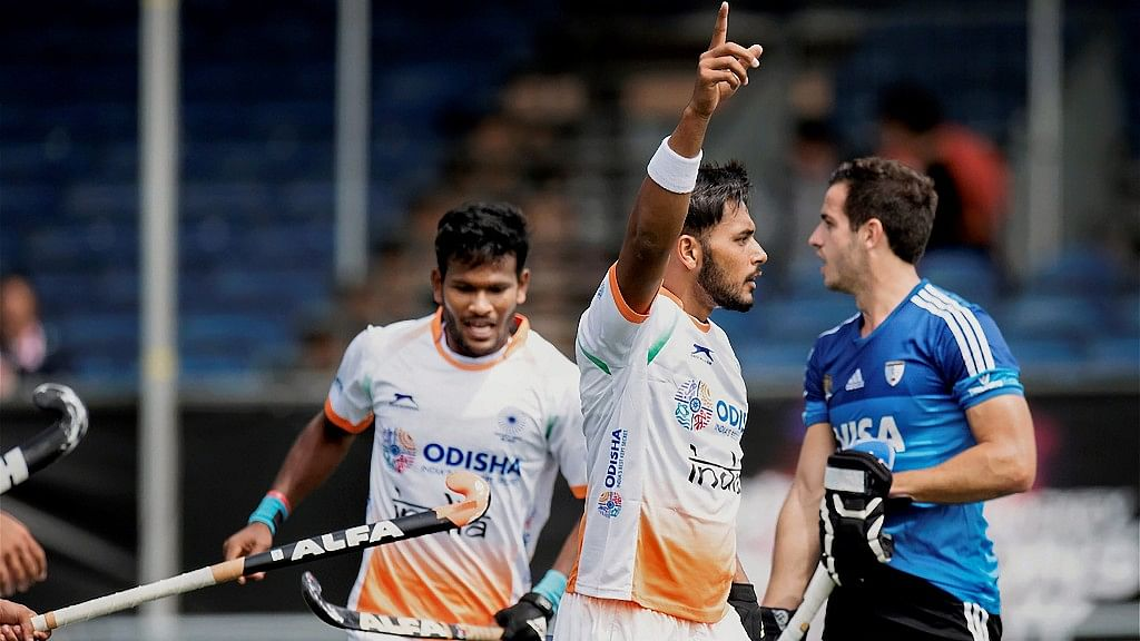 India's Harmanpreet Singh celebrates after scoring the first goal against Argentina in the Champions Trophy in Netherlands on Sunday.