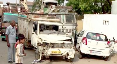 Mathura: A view of the site of the accident where a car was hit by another vehicle near Mathura on June 5, 2018. Four persons of a family, including a police constable, were killed and three others were injured in the accident. (Photo: IANS)