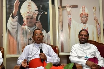 Ranchi: Cardinal Telopspore P Toppo who resigned as the Archbishop of Ranchi addresses a press conference in Ranchi on June 24, 2018. While a church source said that he was miffed over gang-rape of five tribal girls in which a priest was arrested, Catholic Bishops Conference of India General Secretary Theodore Mascarenhas (R), in a press conference said the Cardinal, who is now 87, had submitted his resignation to Pope Francis couple of years ago but it had been rejected and he had been given an
