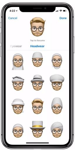 Headgear options available on the Memoji
