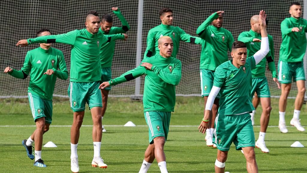Moroccan team  during their training session on the eve of their Group B match against Spain at the Lokomotiv stadium in Kaliningrad on Sunday.