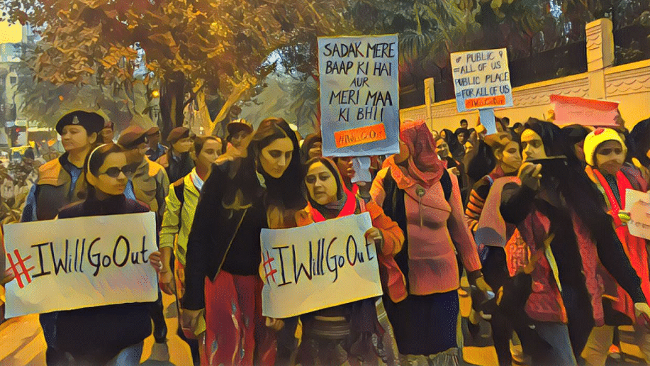 Women march holding #IWillGoOut placards. Image used for representation.