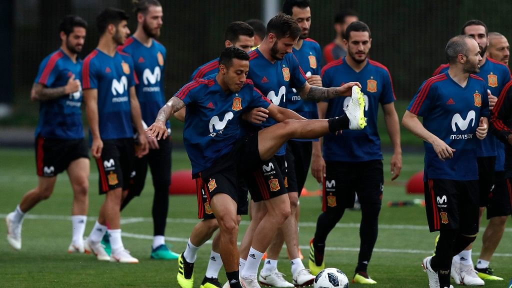 Spanish players during a training session  in Krasnodar, Russia on the eve of their Group B match against Morocco on Monday.