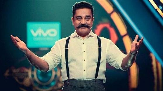 Kamal Haasan on the sets of <i>Bigg Boss Tamil Season 2</i>.