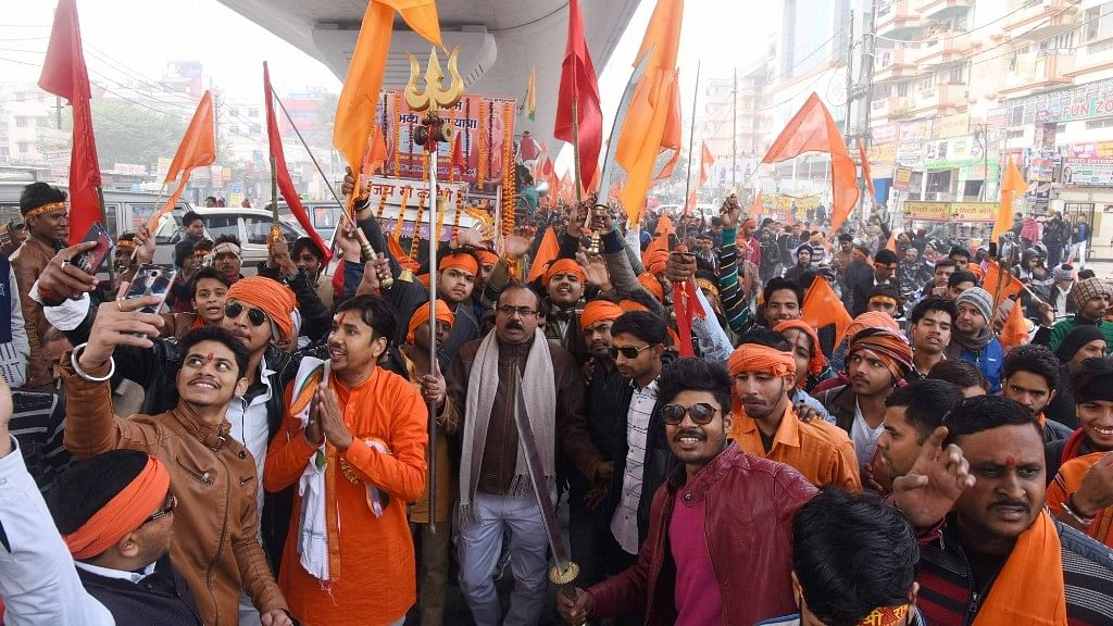 Bajrang Dal workers participate in a procession organised on Swami Vivekananda's birth anniversary in Patna on 12  January 2018.
