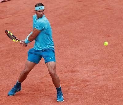 PARIS, June 10, 2018 (Xinhua) -- Rafael Nadal of Spain returns a shot during the men