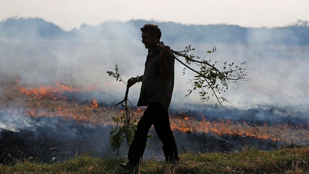 A farmer burns his the stubble left behind after harvesting crops. Image used for representational purposes.