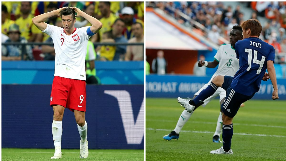 Robert Lewandowski (left) has had a disappointing World Cup, with no goals, whereas Japanese winger Takashi Inui has impressed.