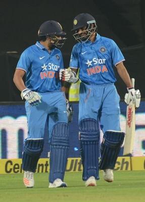 Indian cricketers Rohit Sharma and Shikhar Dhawan. (Photo: IANS)