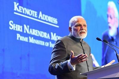 Singapore: Prime Minister Narendra Modi at the Keynote Address at Shangri La Dialogue in Singapore on June 1, 2018. (Photo: IANS/PIB)