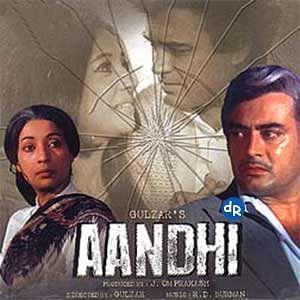 A poster of Gulzar's controversial film<i> Aandhi</i>.