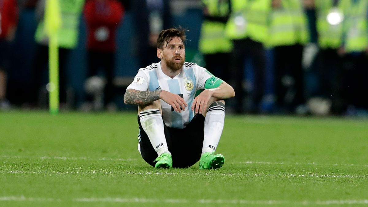 Argentina's Lionel Messi, scorer of the first goal, reacts after the final whistle of the group D match between Argentina and Nigeria.