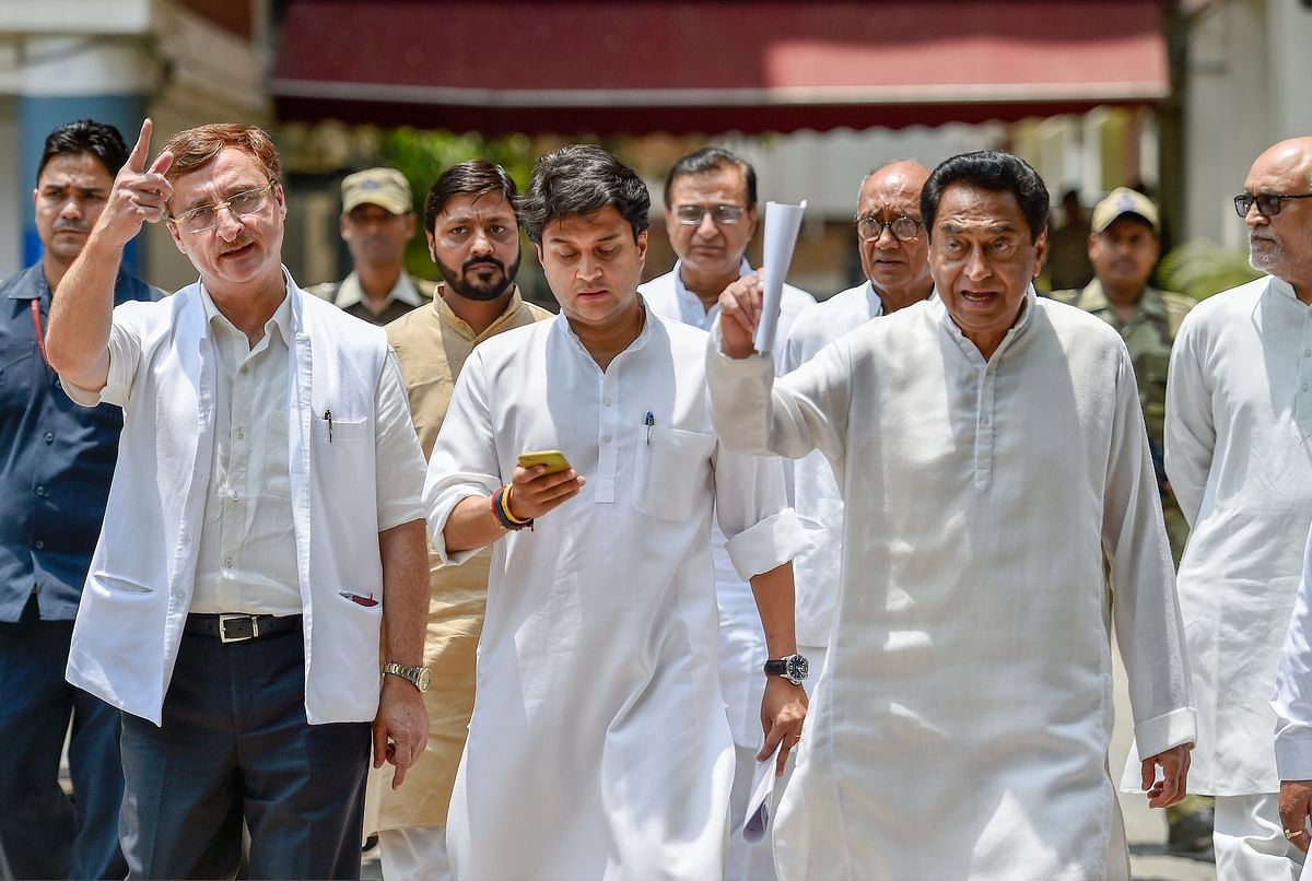 Congress Madhya Pradesh President Kamal Nath with senior Congress leaders Jyotiraditya Scindia, Vivek Tankha and Digvijay Singh come out after a meeting with the Election Commission.