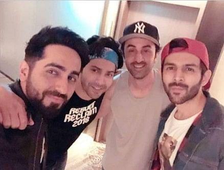 Ayushmann, Varun, Ranbir and  Kartik pose for a selfie.