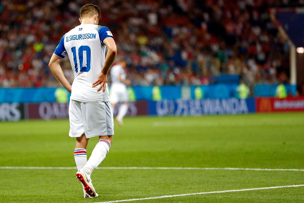 Iceland's Gylfi Sigurdsson looks down after Croatia's Ivan Perisic scored his side's second goal.