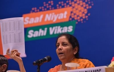 New Delhi: Defence Minister Nirmala Sitharaman addresses a press conference on the achievements of Ministry of Defence in last four years; in New Delhi on June 5, 2018. (Photo: IANS)