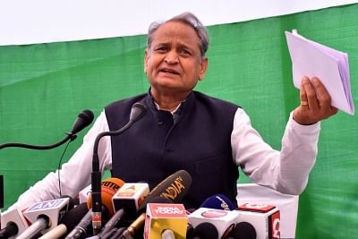 Jaipur: Congress General Secretary Ashok Gehlot addresses a press conference, in Jaipur on June 27, 2018. (Photo: Ravi Shankar Vyas/IANS)