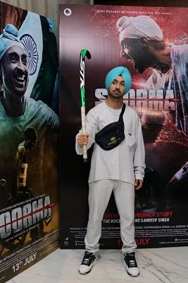 """Mumbai: Actor Diljit Dosanjh during the promotions of his upcoming film """"Soorma"""", in Mumbai on June 23, 2018. (Photo: IANS)"""