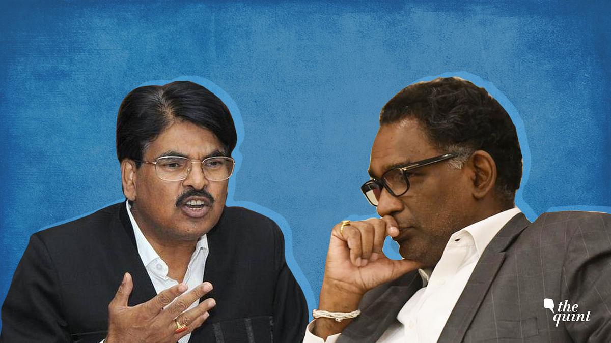 Bar Council of India Chairman Manan Kumar Mishra (L) and Justice Jasti Chelameswar (R)