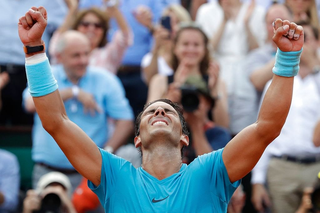 Rafael Nadal celebrates after winning the French Open.