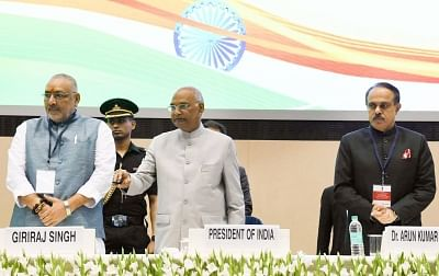 New Delhi: President Ram Nath Kovind launches the Solar Charkha Mission along with Union MoS Micro, Small and Medium Enterprises (MSME) Giriraj Singh and MSME Secretary Arun Kumar Panda at the inauguration of the National Conclave (MSME Udyam Sangam 2018) on the occasion of the 2nd United Nations MSME Day, in New Delhi on June 27, 2018. (Photo: IANS/PIB)