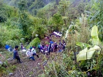 Lunglei: Rescue operations underway at the site where a passenger bus fell into a deep gorge killing at least 11 persons and injuring 19 others near Pangzawl village in Lunglei district of Mizoram on June 5, 2018. (Photo: IANS)