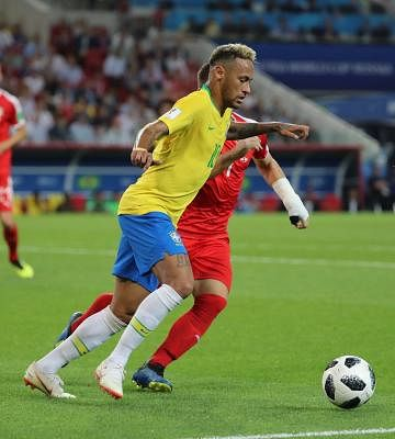 MOSCOW, June 27, 2018 (Xinhua) -- Aleksandar Mitrovic (R) of Serbia reacts during the 2018 FIFA World Cup Group E match between Brazil and Serbia in Moscow, Russia, June 27, 2018. Brazil won 2-0 and advanced to the round of 16. (Xinhua/Wang Yuguo