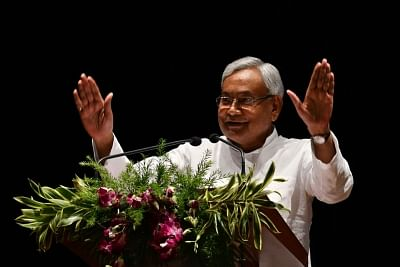 Patna: Bihar Chief Minister Nitish Kumar addresses at East India Climate Change Conclave, in Patna on June 24, 2018. (Photo: IANS)