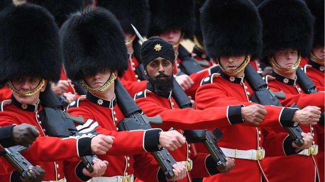 Guardsman Charanpreet Singh Lall at the parade.