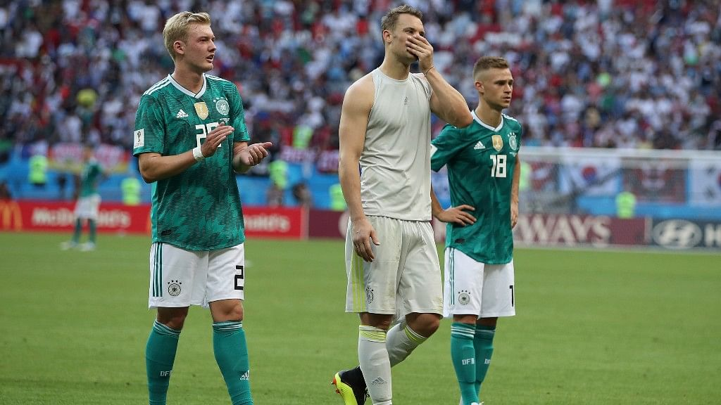 From left, Germany's Julian Brandt goalkeeper Manuel Neuer and Joshua Kimmich after their Group F match against South Korea at the Kazan Arena on Wednesday.