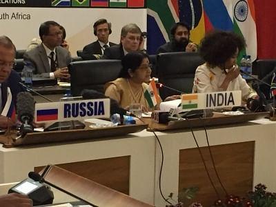 Pretoria: External Affairs Minister Sushma Swaraj addresses at the BRICS (Brazil, Russia, India, China, South Africa) Ministerial Meeting in Pretoria, South Africa on June 4, 2018. (Photo: IANS/MEA)