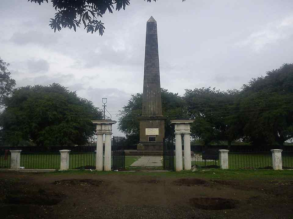 Obelisk commemorating the victory of the British East India company at Bhima Koregaon with names of the fallen.