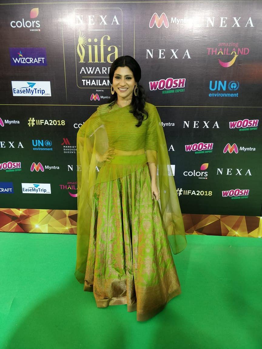 Konkana Sen Sharma wears a 'mehendi' green <i>lehenga</i> at IIFA 2018 green carpet!&nbsp;
