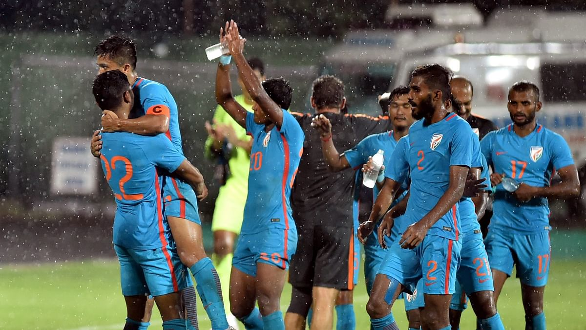 The Indian football team celebrate their 3-0 win over Kenya in the Intercontinental Cup.