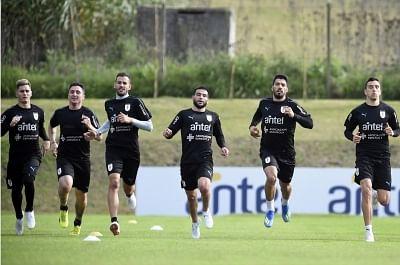 CANELONES, May 29, 2018 (Xinhua) -- Players of Uruguay