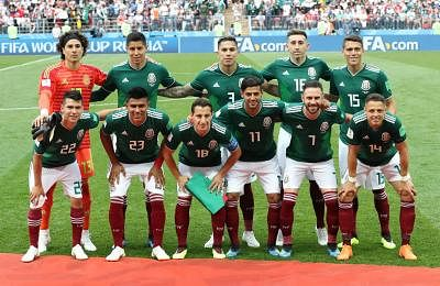 MOSCOW, June 17, 2018 (Xinhua) -- Players of Mexico pose for a group photo prior to a group F match between Germany and Mexico at the 2018 FIFA World Cup in Moscow, Russia, June 17, 2018. (Xinhua/Xu Zijian/IANS)