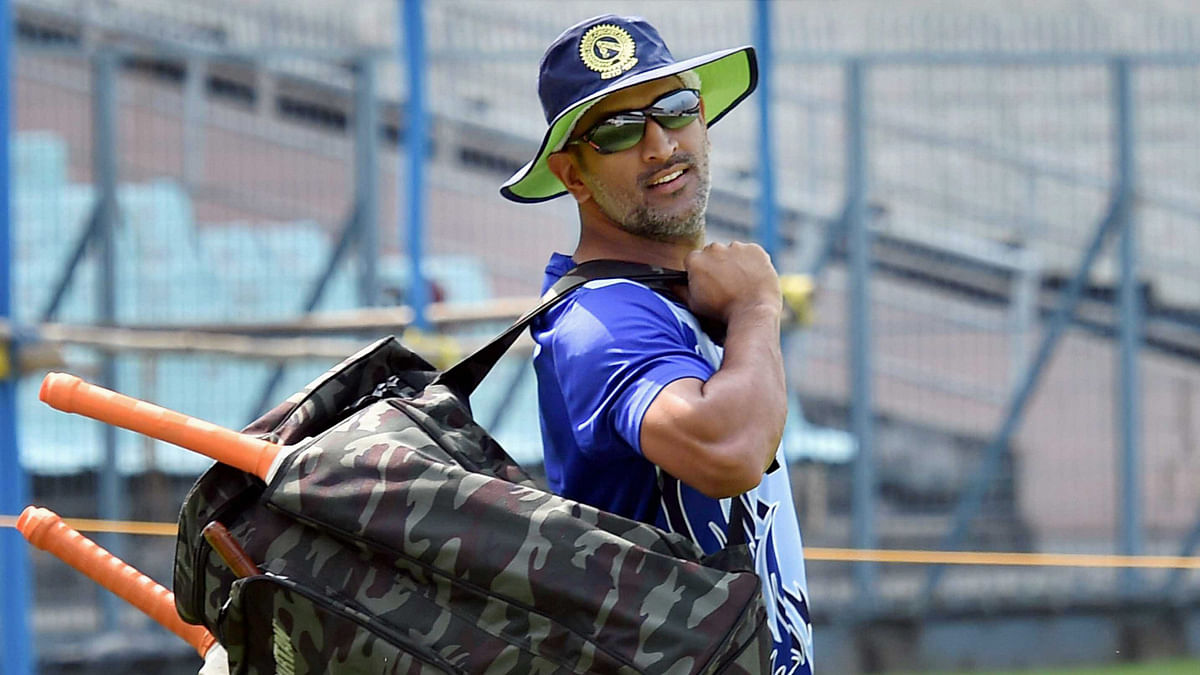 File photo of MS Dhoni during a training session with the Jharkhand Ranji team.