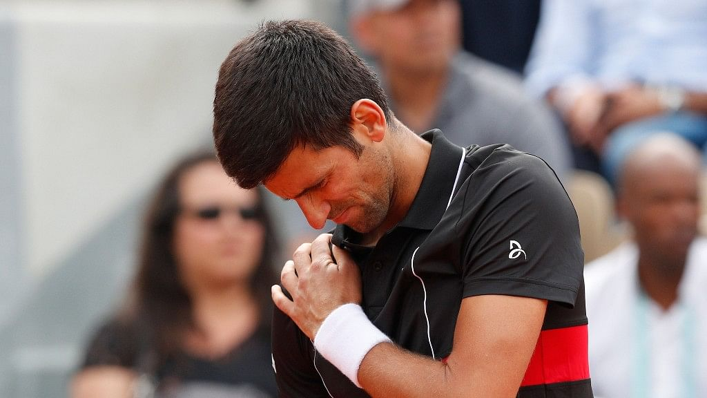 Serbia's Novak Djokovic during his quarterfinal match of the French Open against Italy's Marco Cecchinato at the Roland Garros stadium in Paris.