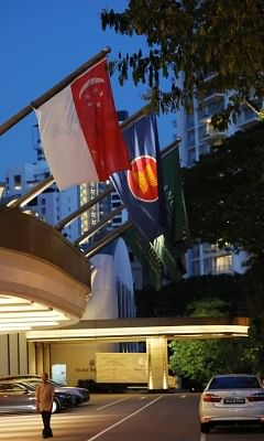 """Singapore: This photo shows the Shangri-La Hotel in Singapore on June 4, 2018. Singapore earlier in the day declared part of its city center, including the hotel, a """"special event area"""" between June 10 and 14 for the summit between U.S. President Donald Trump and North Korean leader Kim Jong-un on June 12. (Yonhap/IANS)"""