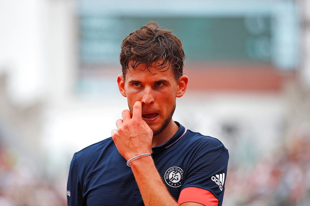 Dominic Thiem has a thought about his game during the French Open final.