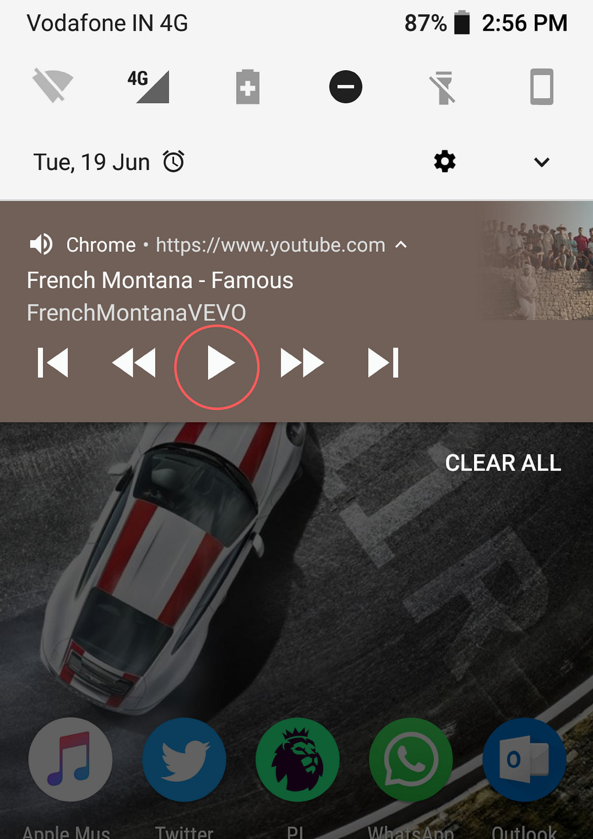 Hit play (highlighted) and enjoy your music without the interruption of screen lock.