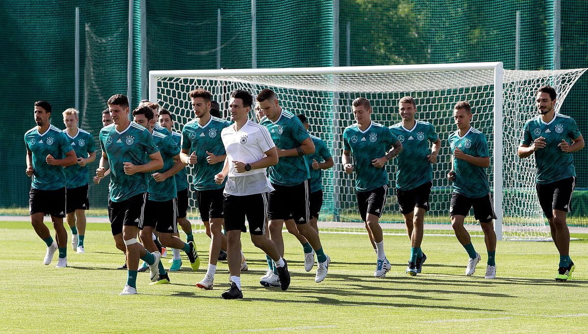 German players run during a training session at the 2018 soccer World Cup in Vatutinki near Moscow, Russia, Monday, June 25, 2018.