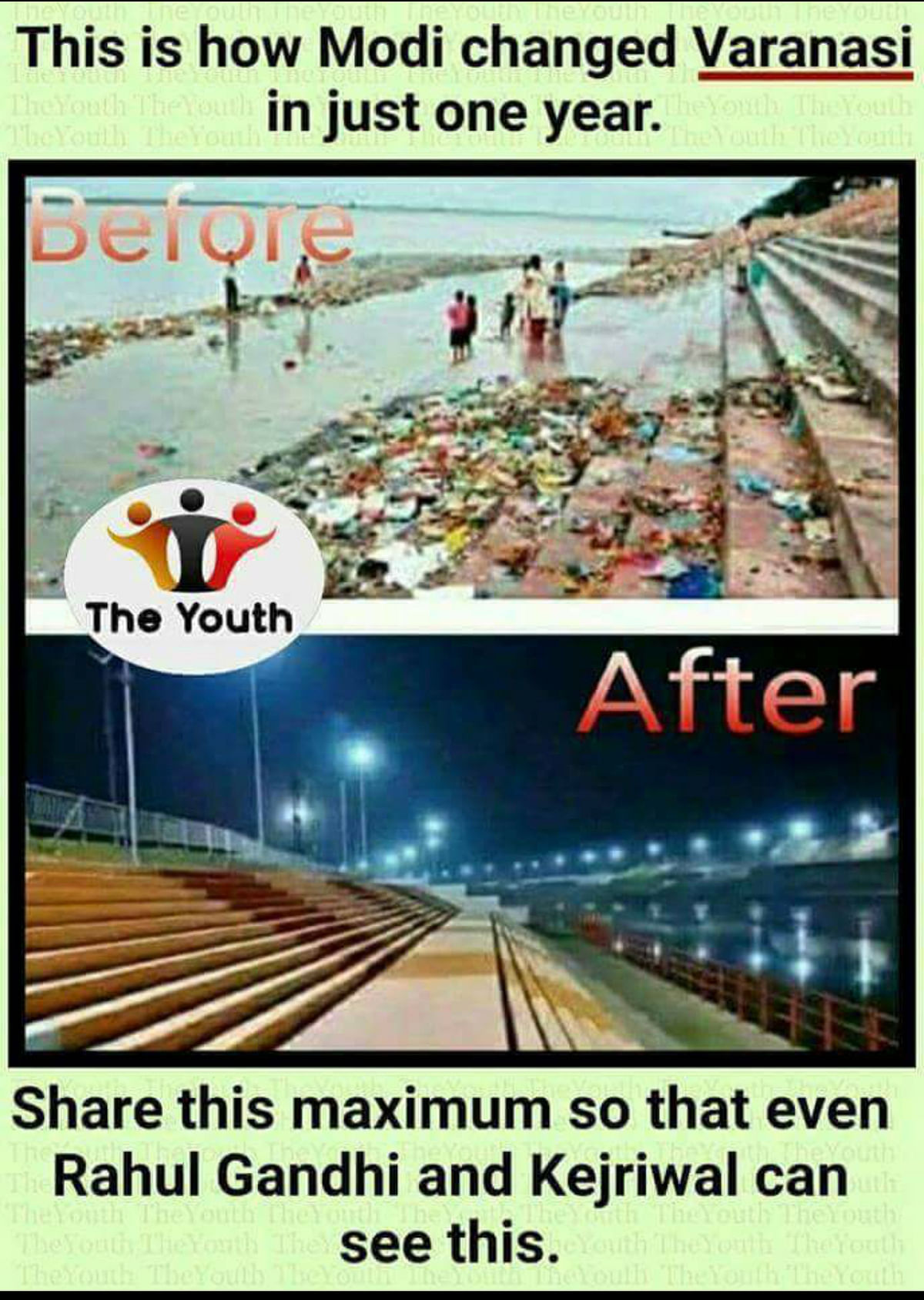 Before & After Pic of Clean Varanasi Ghats Post Modi Govt is Fake!