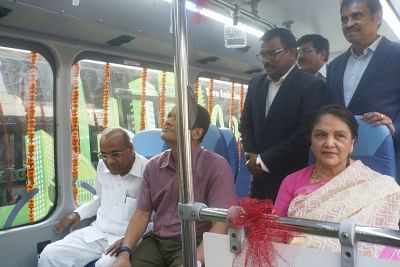 New Delhi: Union Heavy Industries Minister Anant Geete and Goldstone Infratech Limited President (Strategy) Naga Satyam take a ride in India