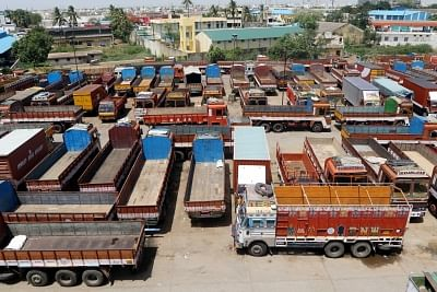 Truckers in the Salem-Namakkal belt struck work in response to the nationwide call by commercial vehicles transport operators.