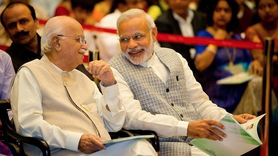 Veteran BJP leader LK Advani (left) with Prime Minister Narendra Modi (right).
