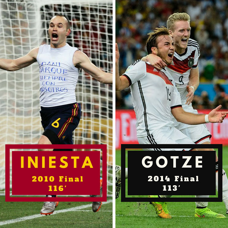 Andres Iniesta and Mario Gotze's World Cup-winning goals both came in extra time, with scorelines of only 1-0.