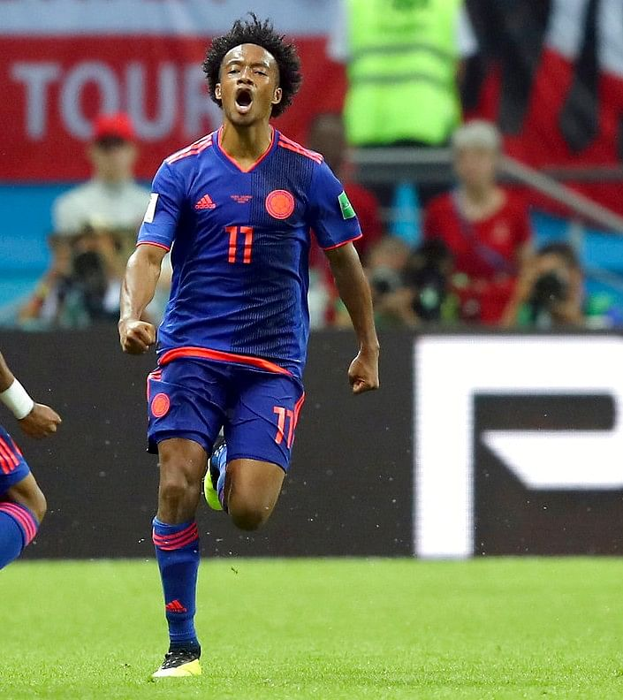 Juan Cuadrado (number 11) has been very effective for Los Cafeteros and scored their third goal against Poland