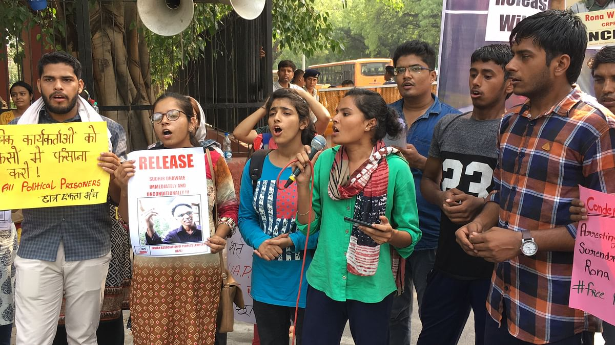 Citizens gathered at Jantar Mantar, New Delhi to protest the arrest of five human rights activists.